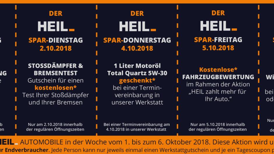 Die große Sparwoche bei HEIL Automobile