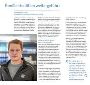 """4. Generation: Artikel über Franz Heil """"Meisterjahrgang 2019"""" der HWK zu Leipzig"""